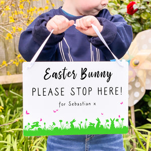 'Easter Bunny Please Stop Here' Personalised Sign