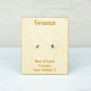Personalised Sterling Silver Star Stud Earrings