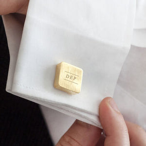 Initial Personalised Solid Square Cufflinks Gold