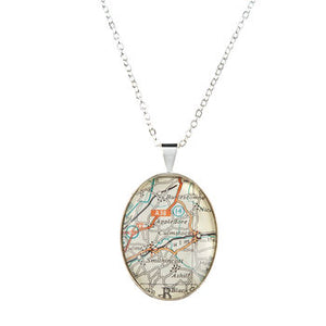 Map Personalised Pendant Necklace Oval