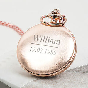 Personalised Message And Date Pocket Watch Rose Gold