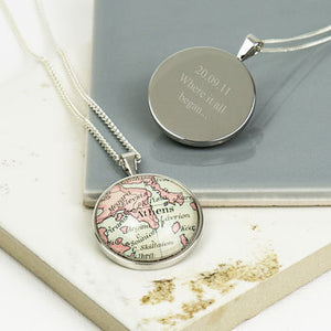 Personalised Sterling Silver Map Pendant Necklace