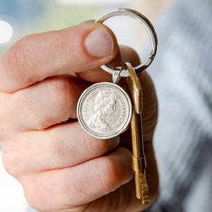 50th Birthday 1971 Five Pence 5p Coin Keyring