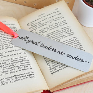 'All Great Leaders Are Readers' Metal Bookmark