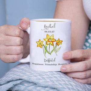 Birth Flower Personalised Watercolour Mug