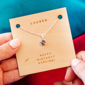 Personalised Silver Birthstone Crystal Necklace Card