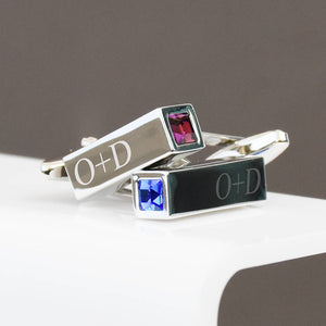 Birthstone Couple Personalised Bar Cufflinks
