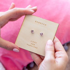 Personalised Silver Birthstone Crystal Earrings Card