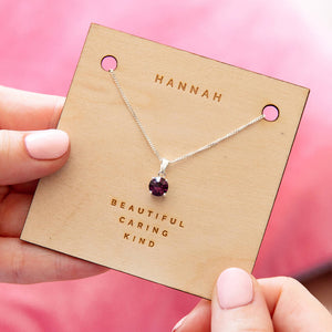 Personalised Sterling Silver Birthstone Necklace Card
