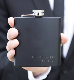 Established Name And Date Personalised Hip Flask