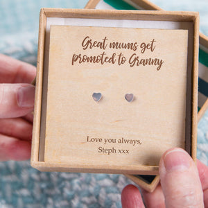 'Great Mums Get Promoted To To Grandma' Heart Earrings