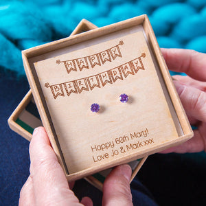 'Happy Birthday' Personalised Birthstone Stud Earrings