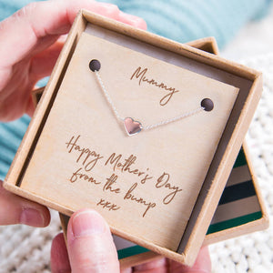 'Happy Mother's Day From The Bump' Heart Necklace