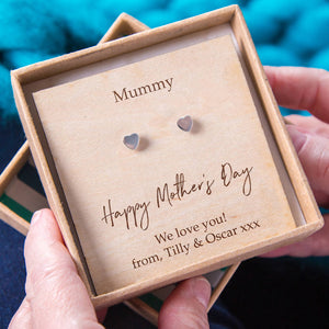 'Happy Mother's Day' Personalised Heart Earrings