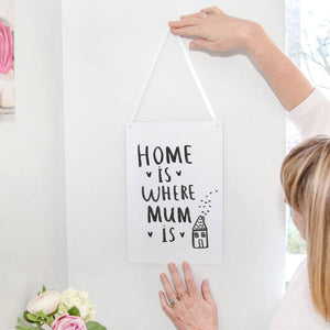 'Home Is Where Mum Is' Hanging Print Sign