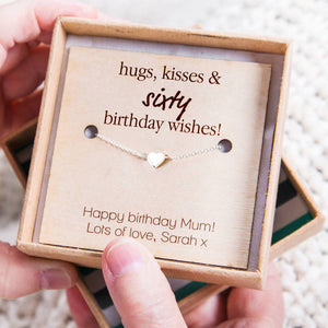 'Hugs, Kisses And Birthday Wishes' Heart Necklace