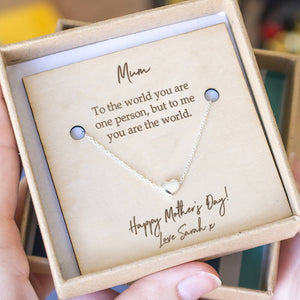 'Mum You're The World' Heart Necklace