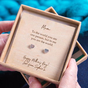 'Mum You're The World' Heart Stud Earrings