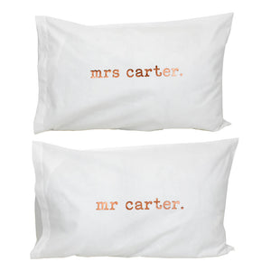 Mr And Mrs Personalised Pillow Case Set