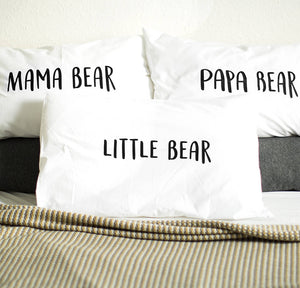 'Papa Bear/Mama Bear/Little Bear' Pillow Case Set