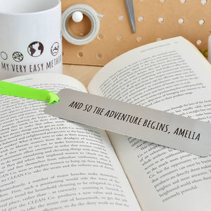 Personalised 'Adventure Begins' Metal Bookmark