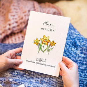 Personalised Birth Flower Watercolour Art Print