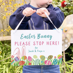 Personalised Easter Bunny Please Stop Here Sign