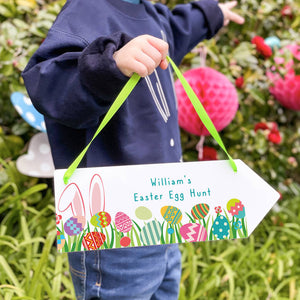Personalised Easter Egg Hunt Sign Arrow