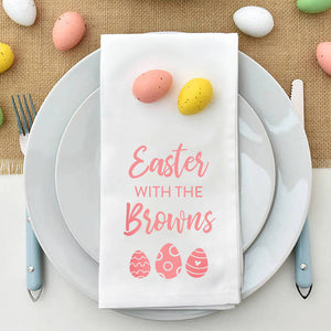 Personalised 'Easter With The' Egg Wreath Napkin