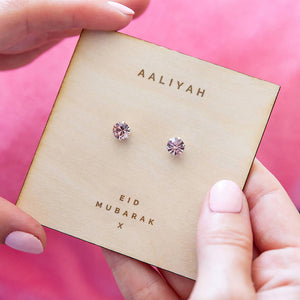 Personalised Eid Silver Birthstone Earrings