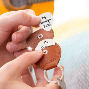 Personalised Message Guitar Plectrum / Pick Keyring