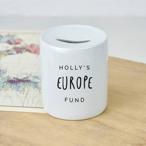 Personalised Travelling Holiday Money Box