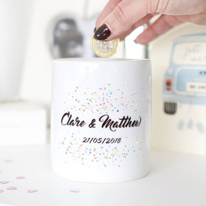 Personalised Wedding Confetti Wedding Fund Money Box