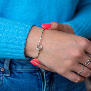 Sterling Silver Friendship Knot Bangle Bracelet