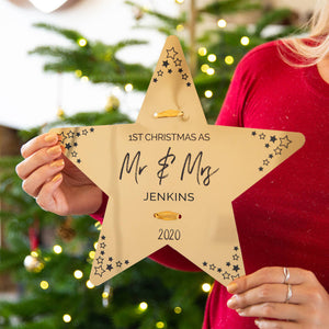 Personalised First Christmas As Mr And Mrs Tree Topper