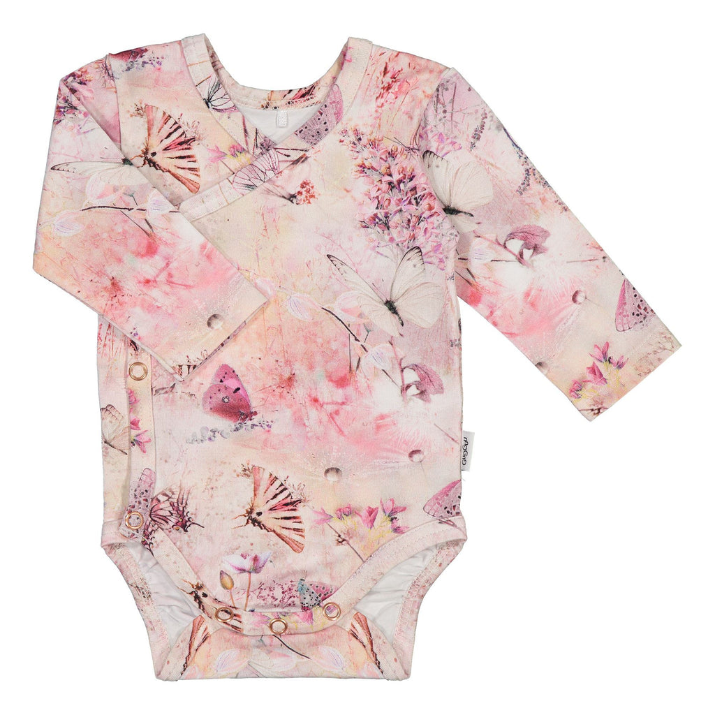 gugguu Baby Print LS Wrap Bodysuit Bodysuits Coral Butterfly 50