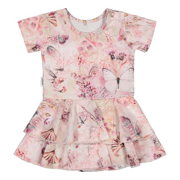 gugguu Baby Print SS Frilla Dress Dresses Coral Butterfly 50