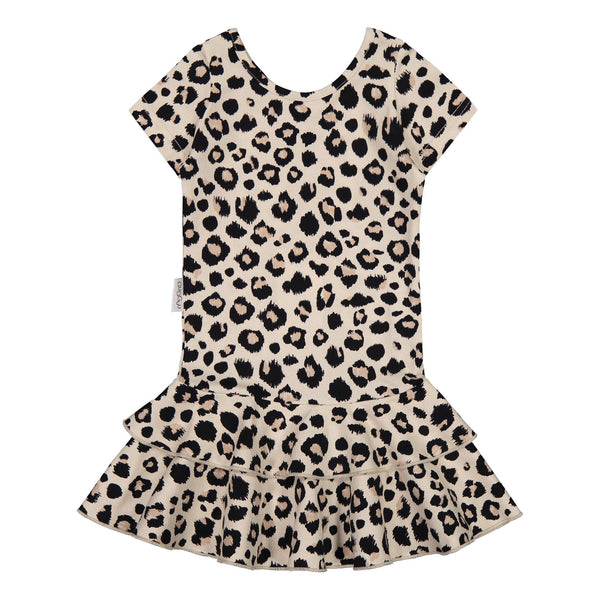 gugguu Print Frilla T-shirt Dress Dresses Ginger Leopard 80