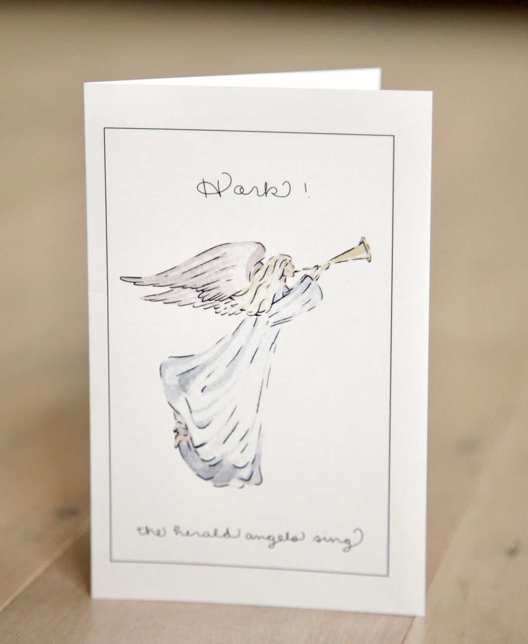 Angel - Hark the Herald Angels Sing - Watercolor Christmas Card