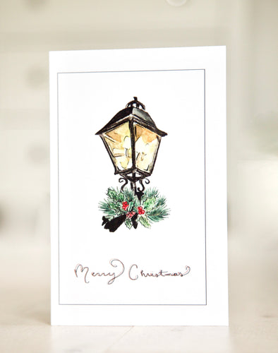 Holly and Fir Gaslamp - Watercolor Christmas Card