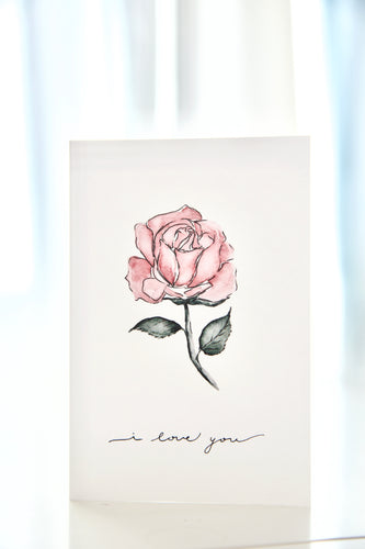 Watercolor Rose I love you - Valentine's Day / anniversary card