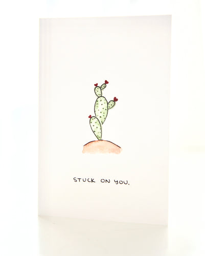 Stuck On You - cactus / succulent, Valentine's Day card