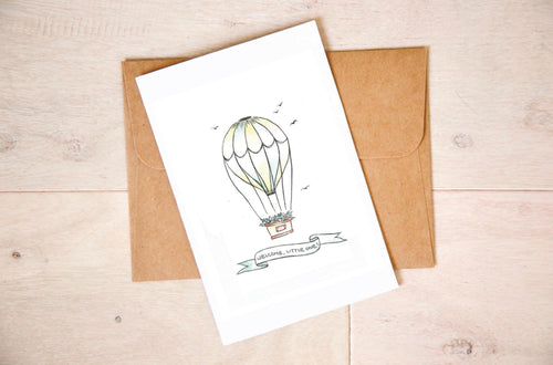 Hot Air Balloon - Neutral Nursery Baby Shower Card