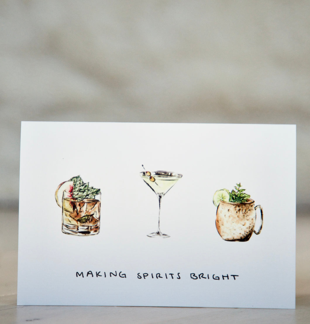 Making Spirits Bright - Whiskey / Rum / Bourbon Christmas Card