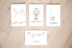 Baby Clothes Clothesline - Neutral Nursery Baby Shower Card