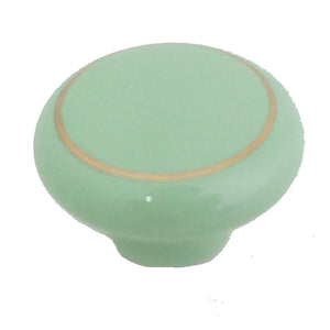 104 Green Ceramic Knob with Golden Ring - Magnificent Marketing (DIY Builders Hardware)