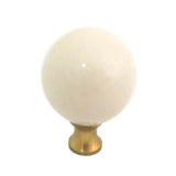 106 Beige Spherical Ceramic Knob with Brass Base - Magnificent Marketing (DIY Builders Hardware)
