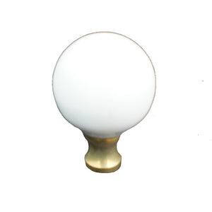 106 White Spherical Ceramic Knob with Brass Base - Magnificent Marketing (DIY Builders Hardware)
