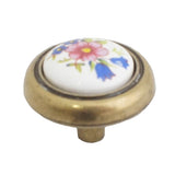 1406 Ceramic Flower Knob Wrapped in Antique English Base