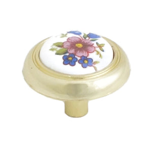 1406 Ceramic Flower Knob Wrapped in Brass Plated Base